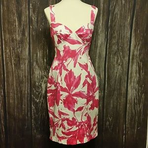 David Meister size 8 Pink & While Floral Dress
